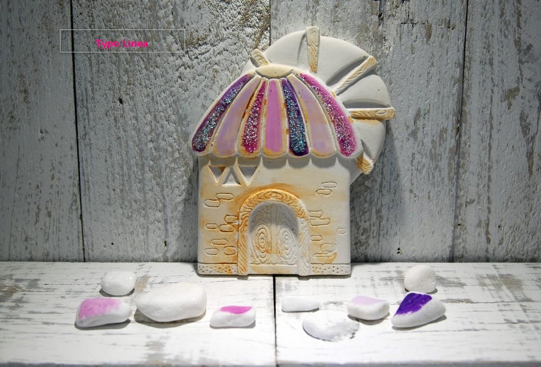 Μπομπονιέρα βάπτισης μύλος roz κεραμικός στο χέρι ζωγραφιστή-γκλίτερ