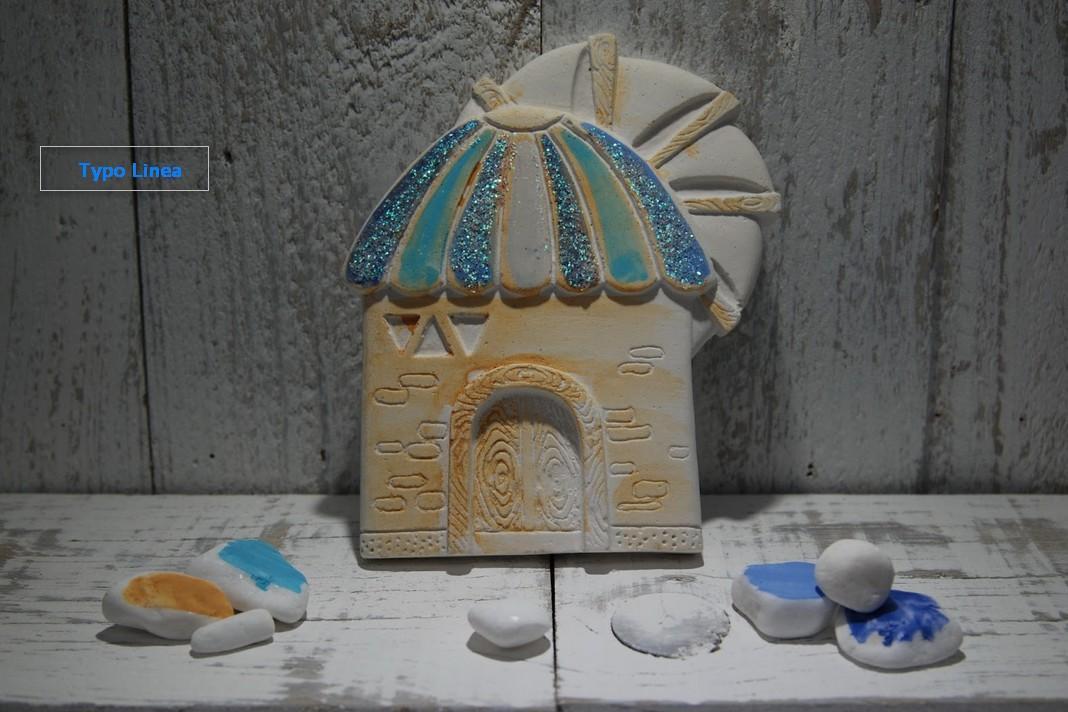 Μπομπονιέρα βάπτισης μύλος κεραμικός στο χέρι ζωγραφιστή-γκλίτερ