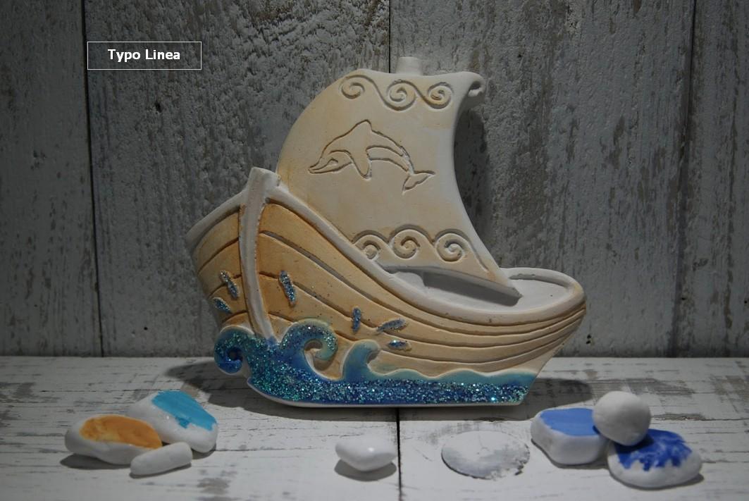 Βαρκούλα μπομπονιέρα βάπτισης ζωγραφιστή κεραμική με γκλίτερ