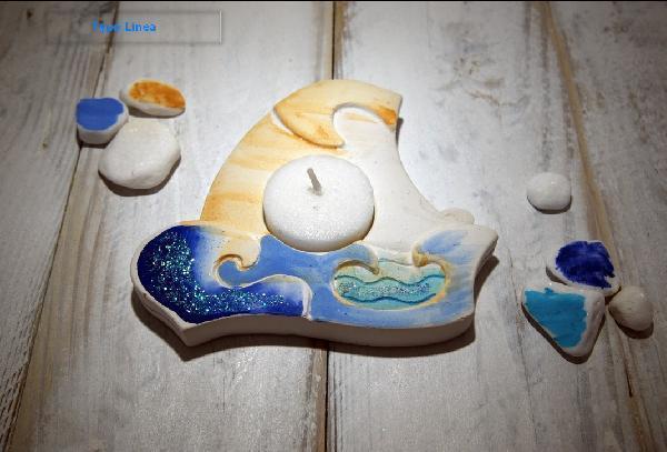 Ρεσώ καραβάκι μπομπονιέρα βάπτισης κεραμική ζωγραφιστή στο χέρι