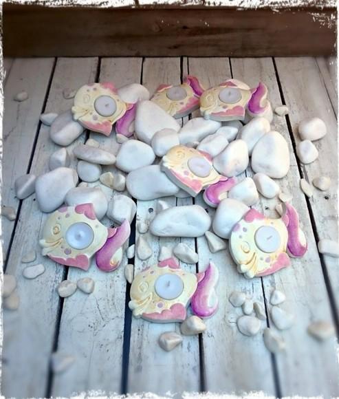 Βάπτισης κεραμική μπομπονιέρα ζωγραφιστή σε ψαράκι ροζ ρεσώ