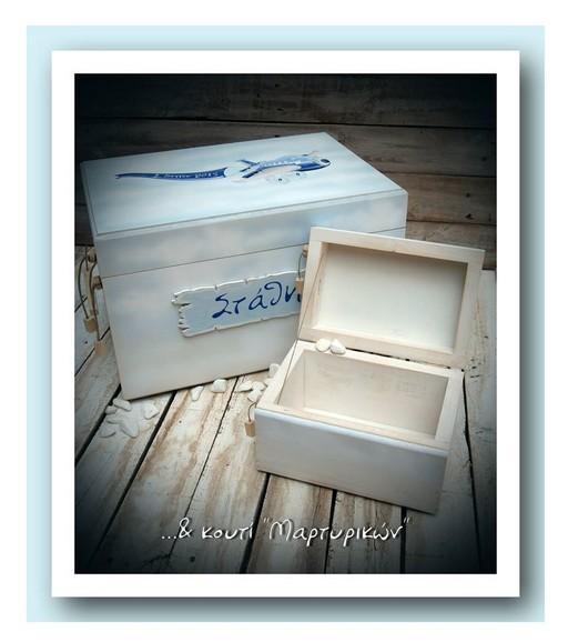 Vintage κουτί ευχών βάπτισης χειροποίητο από ξύλο με θέμα αεροπλάνο.