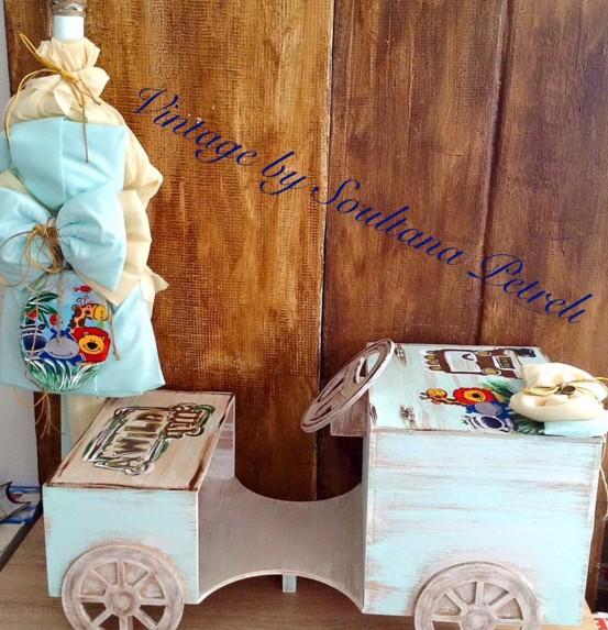 Αυτοκινητάκι σαφάρι ζώων κουτί ρούχων βάπτισης χειροποίητο