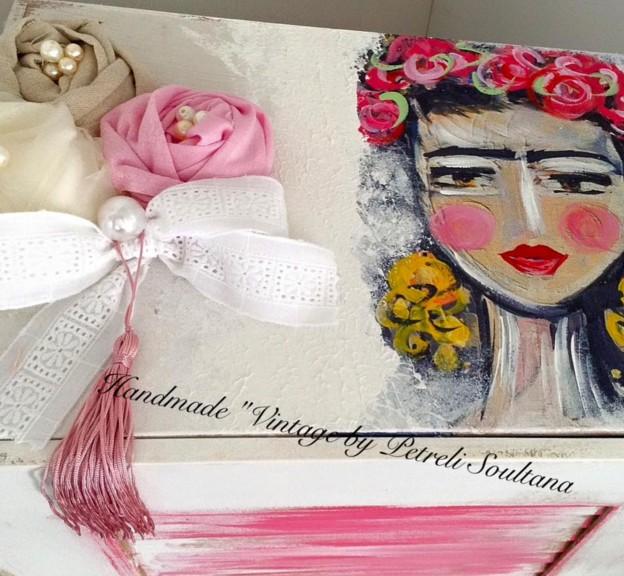 Frida Kahlo κουτί ρούχων βάπτισης χειροποίητο