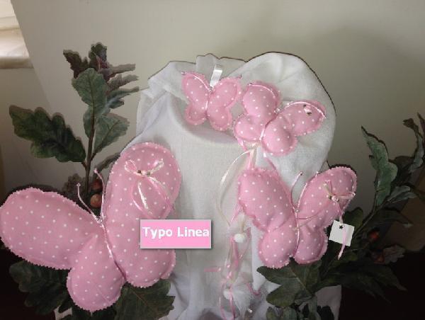 Bάπτισης μπομπονιέρα πεταλούδα μαξιλαράκι από ύφασμα πουά ροζ