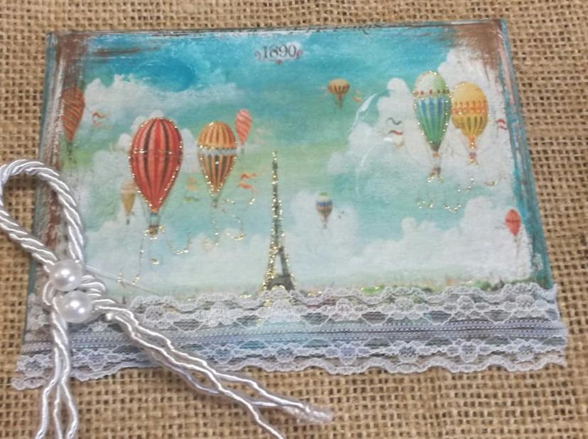 Αερόστατα στο Παρίσι βάπτισης μπομπονιέρα καδράκι ξύλινο ντεκουπάζ