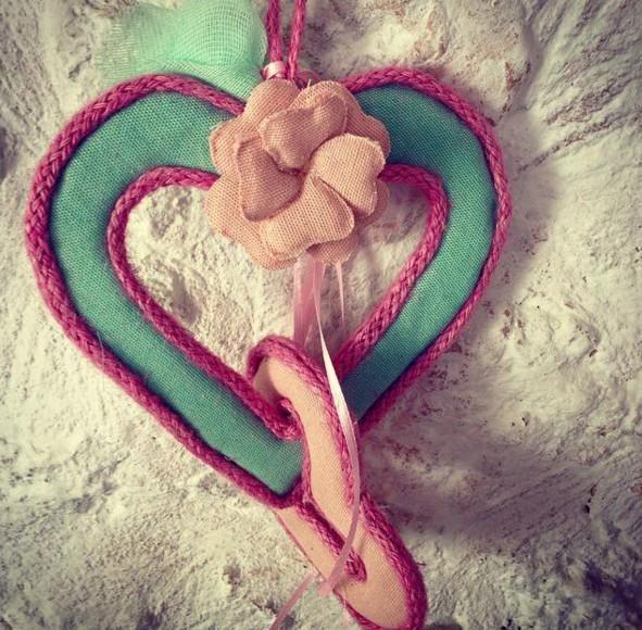 Μαξιλαράκι vintage καρδιά-λουλούδι νέα μπομπονιέρα βάπτισης