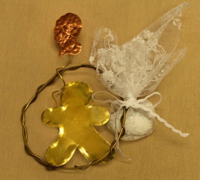 Στεφανάκι μπομπονιέρα βάπτισης μεταλλικό με cookie και μπαλόνι